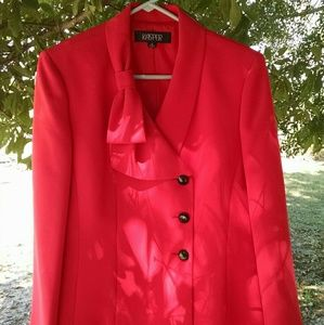Red Blazer With Beautiful Bow For Detail on Collar